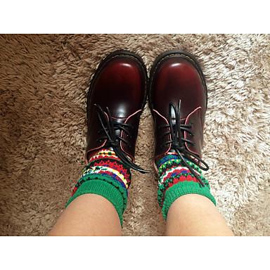 Mulheres Sapatos Couro Outono Conforto Oxfords Plataforma Ponta Redonda Cadarço para Casual Amarelo Vinho