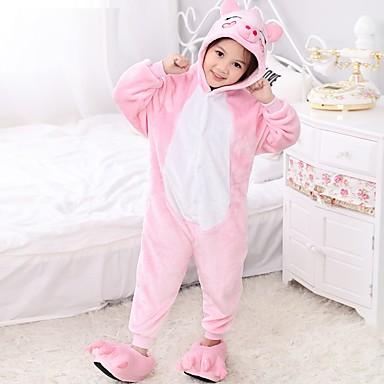 Kigurumi-Pyjamas Schweinchen/Schwein Pyjamas-Einteiler Kostüm Polar-Fleece Rosa Cosplay Für Kinder Tiernachtwäsche Karikatur Halloween