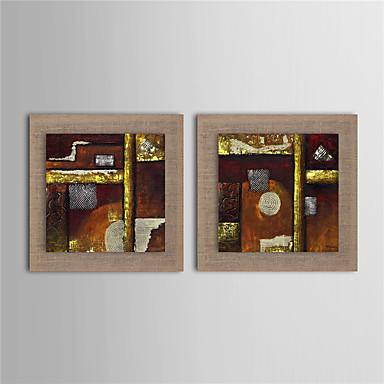 Pintados à mão Abstrato Quadrada, Modern Tela de pintura Pintura a Óleo Decoração para casa 2 Painéis