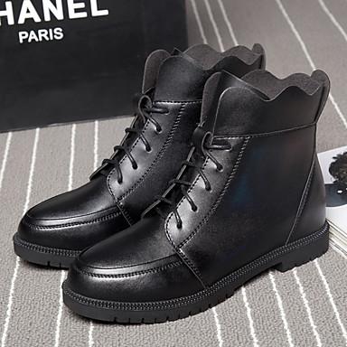Feminino Sapatos Couro Outono Curta/Ankle Botas Plataforma Para Casual Preto Vermelho