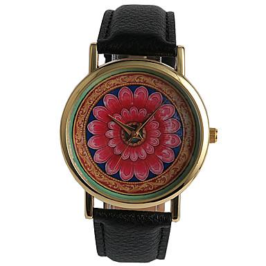 Dames Modieus horloge Dress horloge Kwarts / PU Band Bloem Zwart