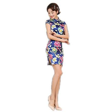 Tradisjonell Dame Kjoler Blyantkjole A-Line Dress Cosplay Blomstret Kortermet Medium Lengde kostymer