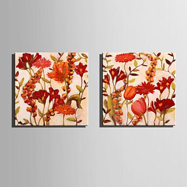 Botânico Impressão em tela Dois Painéis Pronto para pendurar,Quadrada