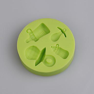 Molde de silicone para garrafa de bebê e molho de silicone para bolo de aniversario de bolo de bolo de fondant aleatório