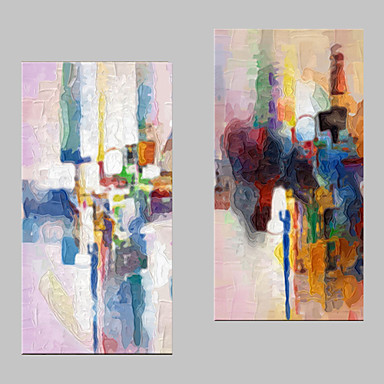 E-HOME® Stretched Canvas Art Color Abstraction Decoration Painting  Set of 2