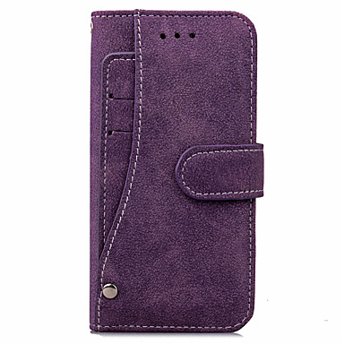 Etui Til Apple iPhone X / iPhone 8 / iPhone 8 Plus Pung / Kortholder Fuldt etui Ensfarvet Hårdt PU Læder for iPhone X / iPhone 8 Plus / iPhone 8