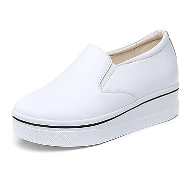 Damen Schuhe Leder Sommer Herbst Komfort Sneakers Niedriger Heel Runde Zehe Für Normal Weiß Schwarz