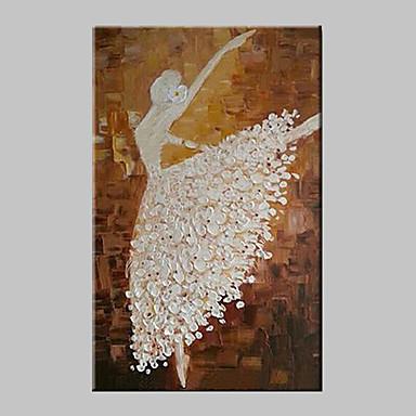 Ручная роспись Люди Вертикальная, Modern Традиционный холст Hang-роспись маслом Украшение дома 1 панель