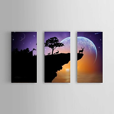 Print Abstract / Landschap / Stilleven Klassiek / Pastoraal / Modern Drie panelen