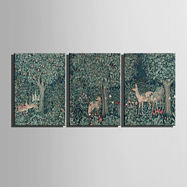 E-HOME® Stretched Canvas Art Animals In The Magic Forest Decoration Painting  Set of 3