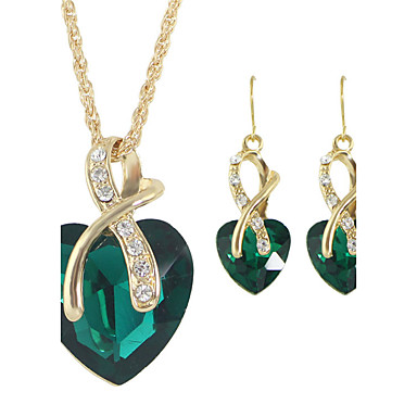 Dames Sieraden set - Strass Hart Modieus omvatten Ring oorbellen / Hangertjes ketting / Ketting / Oorbellen Rood / Groen / Blauw Voor Bruiloft / Lahja / Dagelijks / Kettingen
