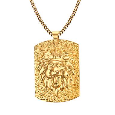 Homens Aço Inoxidável Chapeado Dourado Colares com Pendentes  -  Fashion Dourado Colar Para Presentes de Natal Diário Casual