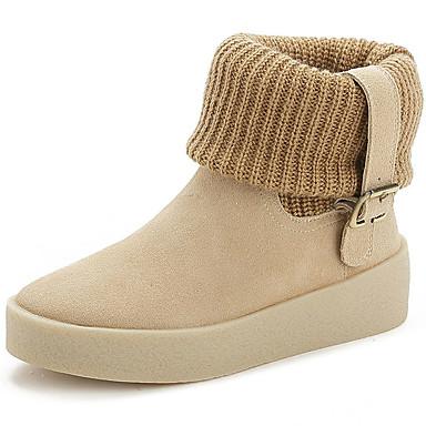 Støvler-Pels-Modestøvler-Dame-Sort Grå Beige-Kontor Fritid Sport-Flad hæl