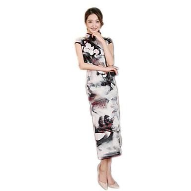 Einteilig/Kleid Cosplay Lolita Kleider Blumen Kurzarm Normallänge Zum Polyester