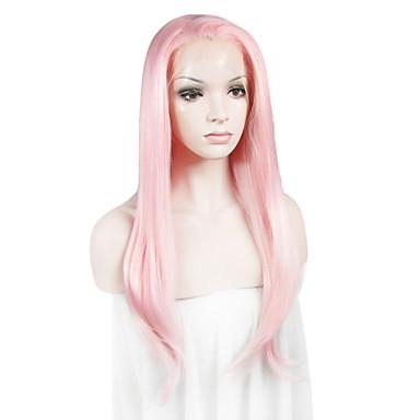 tanie Syntetyczne peruki z siateczką-Syntetyczne koronkowe peruki Prosta Styl Siateczka z przodu Peruka Różowy Różowy Włosie synetyczne Damskie Różowy Peruka Peruka koronkowa