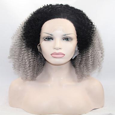 Syntetiske parykker Krøllet Afro Dame Blonde Front Blonde Paryk Syntetisk hår