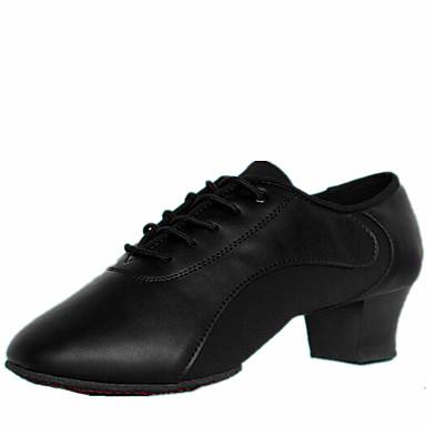 Herrn Schuhe für den lateinamerikanischen Tanz Leder Absätze Schnürsenkel Niedriger Heel Keine Maßfertigung möglich Tanzschuhe Schwarz / Innen