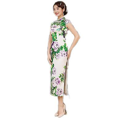 N/A Einteilig Kurzarm Normallänge Zyan Lolita Kleid Polyester