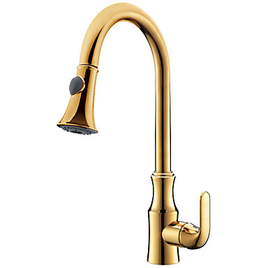 Kitchen faucet - Single Handle One Hole Ti-PVD Pull-out / ­Pull-down Centerset Modern / Brass