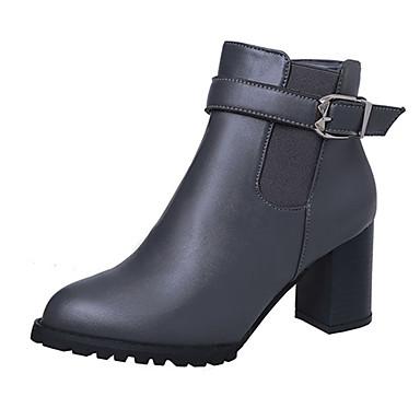 Dame Sko PU Vinter Komfort / Kampstøvler / Chelsea boot Støvler Gange Tykk hæl / Blokker hælen Spisstå Glidelås Svart / Grå / Brun