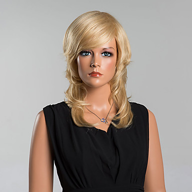 魅力的なミドル丈ルーズ波状キャップレスかつら高品質の蜂蜜ブロンドの人間の髪の毛