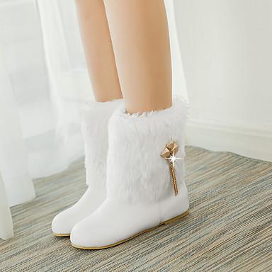 Strass Talon Noir Bas Similicuir Chaussures Bottes Bottes Hiver rond 05312077 la à neige Mode Bout de Femme Blanc Bottes Automne Chaîne a7xfqqH