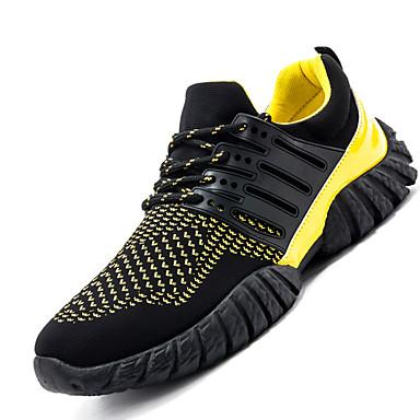 Masculino sapatos Sintético Primavera Verão Outono Inverno Conforto Tênis Corrida Cadarço Para Casual Amarelo Preto/Vermelho Branco/Preto