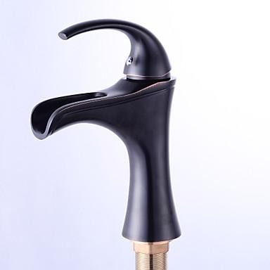 Casquillo antiguo de la válvula de cerámica válvula de cascada sola manija un orificio bronce frotado con aceite, grifos del baño del grifo del lavabo del baño