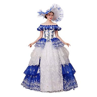 Viktoriaaninen Rokokoo Asu Naisten Mekot Naamiaisasu Juhla-asu Sininen Vintage Cosplay Pitsi Puuvilla Holkki Kokopitkä Pitkä Pituus