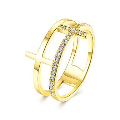 Dame Luksus Kubisk Zirkonium Zirkonium / Kubisk Zirkonium / Kobber Kors Band Ring - Luksus / Mote / Europeisk Rose / Gylden Ringe Til