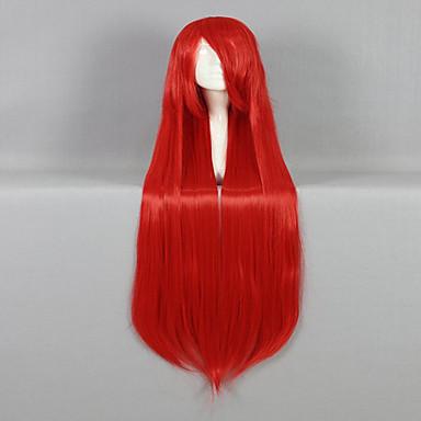 Perucas sintéticas Liso Vermelho Mulheres Sem Touca Peruca para Cosplay Cabelo Sintético