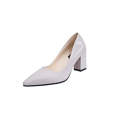 Feminino Sapatos Couro Primavera Verão Conforto Saltos Salto Baixo Dedo Apontado Com Para Casual Preto Prata Cinzento Vermelho Rosa claro