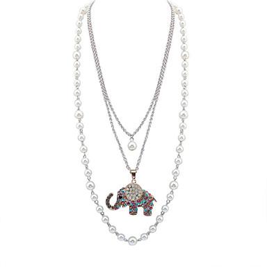 女性 ステートメントネックレス 人造真珠 ラインストーン 合金 ファッション 愛らしいです ホワイト ジュエリー パーティー 日常 カジュアル 1個