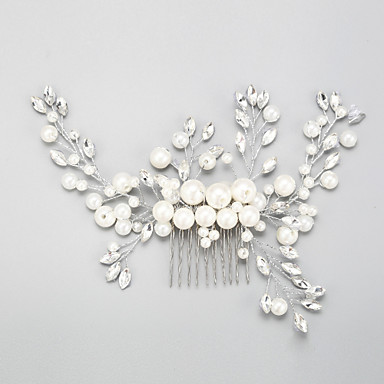 imitatie parel strass legering haar kammen zendspoel elegante stijl