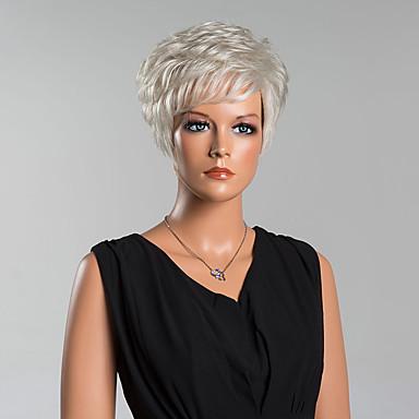 ファッション短い自然な波キャップレスは、高品質の人間の毛髪のかつら