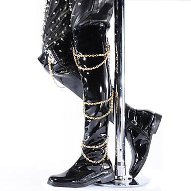 男性用 靴 エナメル 冬 秋 ブーツ チェーン のために カジュアル パーティー ブラック