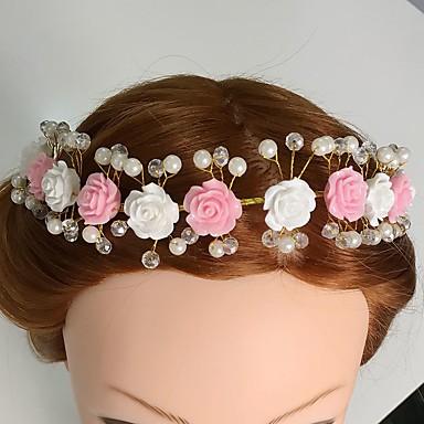 Vrouwen Licht Metaal Acryl Helm-Bruiloft Speciale gelegenheden Informeel Bloemen 1 Stuk