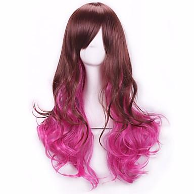 ピンク色のコスプレ合成かつらの新しいスタイルのかつらファッションブラウン