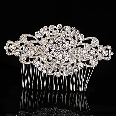 Crystal Fabric Alloy Tiaras Hair Combs 1 Wedding Special Occasion Party / Evening Headpiece