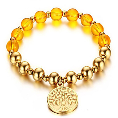 keltainen kristalli helmi kultainen rannerengas 8mm tageja klassinen naisellinen tyyli