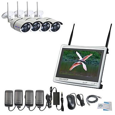 strongshine® 4ch h.264 trådløs nvr med 12,5 tommers skjerm og 960p vanntett / infrarød wifi ip kameraovervåkningssett