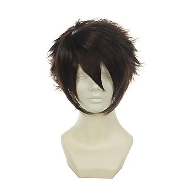 Synthetische Perücken Glatt Synthetische Haare Braun Perücke Damen Kappenlos