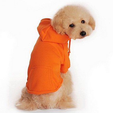 Cat Dog Hoodie Dog Clothes Casual/Daily Sports Solid Black Orange Gray Red Costume For Pets