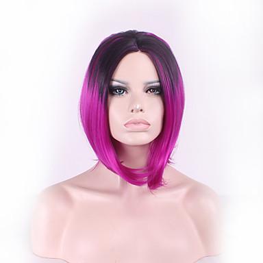 女性 人工毛ウィッグ ストレート ブラック/バーガンディ オンブレヘア ナチュラルウィッグ コスチュームウィッグ