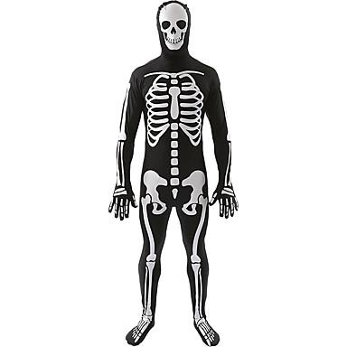 Cosplay Kostumer Festkostume Skelet/Kranium Festival/Højtider Halloween Kostumer Trykt mønster Trikot/Heldragtskostumer HalloweenMand