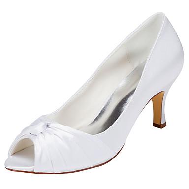 女性用 靴 ストレッチサテン 春 夏 ヒール スティレットヒール オープントゥ/ピープトウ リボン のために 結婚式 パーティー ホワイト クリスタル