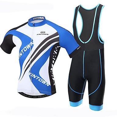 XINTOWN Herre Kortermet Sykkeljersey med bib-shorts - Svart Sykkel Sykkelshorts Med Seler Jersey, 3D Pute, Fort Tørring, Ultraviolet