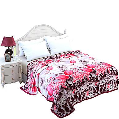 Super-pehmeä Monivärinen,Printed Kukat / Kasvit 100% polyesteri peitot W200*L230cm