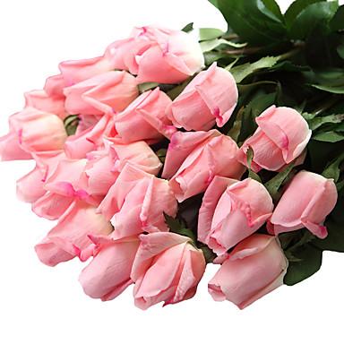 12 Tak Kunststof Echt aanvoelend Rozen Bloemen voor op tafel Kunstbloemen