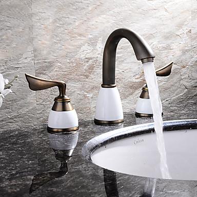 バスルームのシンクの蛇口 - 組み合わせ式 アンティーク銅 組み合わせ式 二つのハンドル三穴